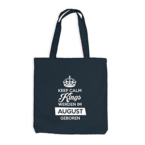 Jutebeutel - Keep Calm Kings werden im August geboren - Birthday Geburtstag Dunkelgrau