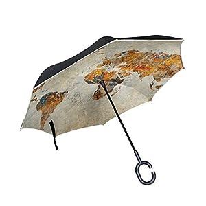 Mi Diario Doble Capa Paraguas invertido coches Reverse paraguas Vintage mapa del mundo resistente al viento UV prueba de viaje al aire libre Paraguas