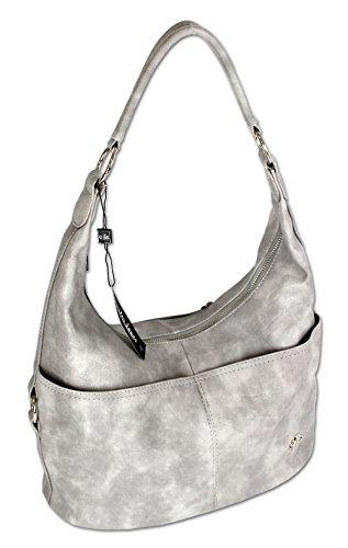 Jennifer Jones Taschen Damen Damentasche Handtasche Schultertasche Umhängetasche Tasche Hobo Bag in versch. Farben (3109) Hellgrau