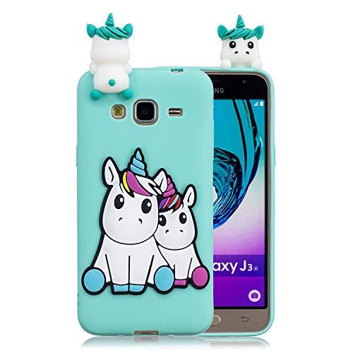 Funluna Cover Samsung Galaxy J3 2016, 3D Unicorno Modello Ultra Sottile Morbido TPU Silicone Custodia Antiurto Protettiva Copertura Flessibile Gomma Gel Back Cover per Samsung Galaxy J3 2016
