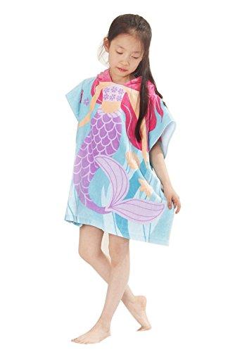 ssin Mermaid Art mit Kapuze Bad / Strand Poncho Handtuch, Hellblau (Prinzessin Kapuzen-handtuch)