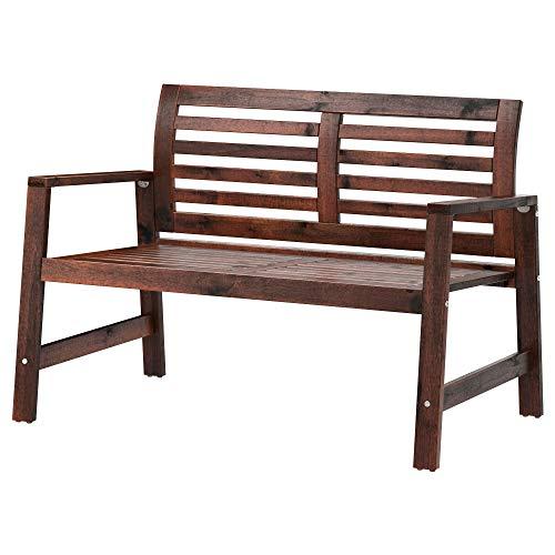 Banc avec Dossier, teinté Marron, Dimensions assemblé : Largeur : 117 cm, Profondeur : 65 cm, Hauteur : 80 cm, Largeur d'assise : 115 cm, Profondeur d'assise : 52 cm, Hauteur d'assise : 42 cm.