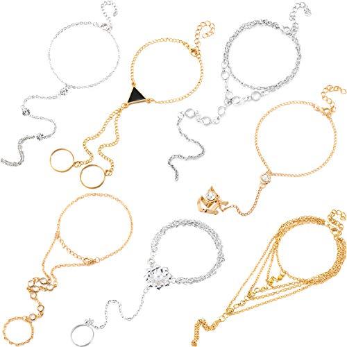 6 Piezas Pulsera anillo esclavos Pulsera arnés mano