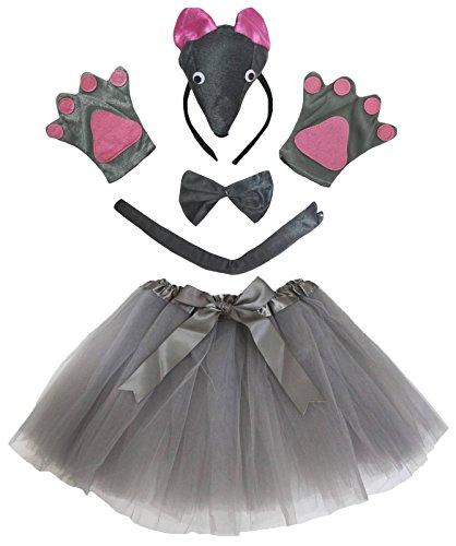 petitebelle Stereo Maus Kostüm Haarband Handschuhe grau Tutu 5-teiliges Set für Lady Gr. One Size, (Womens Maus Kostüm)