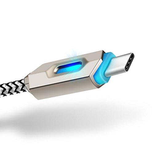 Outstanding 1m/3ft Nylon geflochtene leuchtende leuchtende Schnur USB-C Typ C Stecker auf Typ A Stecker Sync Daten Ladegerät Kabel (Led 3')