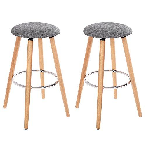SONGMICS 2er Set Barhocker Barstuhl Tresenhocker Beine aus Buche Sitzhöhe 71 cm, Stuhl Küchenstuhl Leinen Grau und Naturfarben LJB22G
