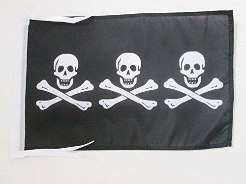 AZ FLAG Bandera Pirata 3 Calaveras 45x30cm - BANDERINA con...