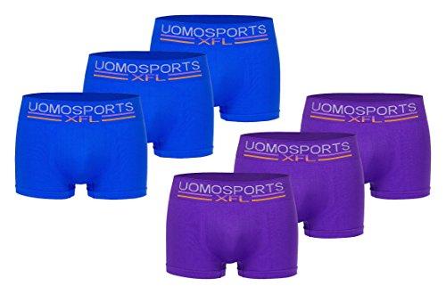 Men's Fashion Lounge Herren Boxershorts 'UOMO Sports XFL', 6, 12 od. 24 Retroshorts in coolen Trendfarben blau-lila/6er Pack
