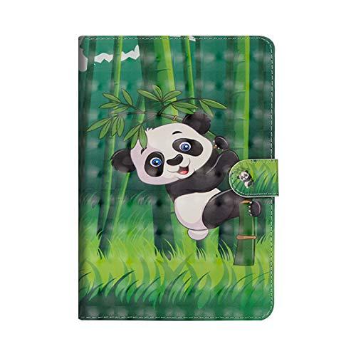 JAWSEU Huawei Mediapad T3 10 Hülle, Huawei Mediapad T3 10 Lederhülle - Smart Cover Tablet Case Panda 3D Muster PU Leder Flip Hülle Wallet Tasche Schutzhülle mit Ständer -