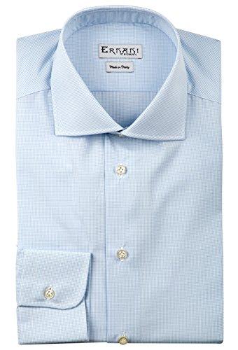 Preisvergleich Produktbild Ernani Popeline-Herrenhemd, Slim-Fit, Haifischkragen, hergestellt in Italien, kleine Karos, Himmelblau, Blau - Blau, 50 EU