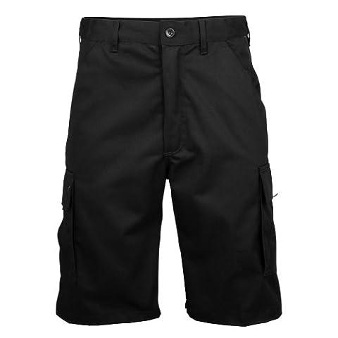 RTY Workwear - Short cargo de travail 100% coton - Homme (2XL - 97/102cm) (Noir)