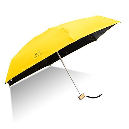 Paraguas Plegable de Viaje Compacto Ultraligero Mini Paraguas prueba de viento(95% De Resistencia UV/100% Impermeable)Doble-Uso Paraguas Del Sol Mujer Chica a su compañero íntimo (Amarillo)