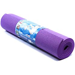 Kurtzy 6mm Thick Purple Yoga Pilates Excercise Fitness Workout Gym Non Slip Comfortable Mat