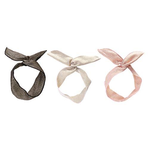 Frcolor 3 Stück Damen Draht Haarband Bunny Ohr Biegbar Stirnbänder Kopfband Gitter Haarschmuck für Frauen Mädchen Kinder