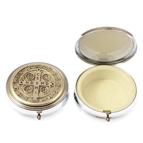 Scatolina in metallo argento San. Benedetto per Ostia comunione 6cm