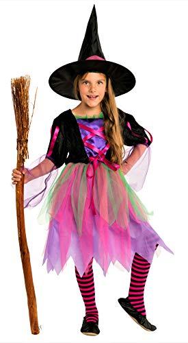 Magicoo buntes Neon Hexenkostüm für Kinder Mädchen Halloween mit Hut - schickes Halloween Kostüm Hexe Kind (7-9 (Ein Halloween Kostüme)