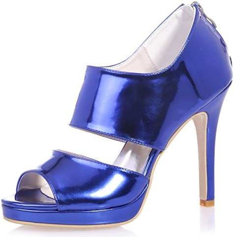 Elobaby Zapatos De Boda De Las Mujeres Cremallera De La PU Fall Platform Party & Evening/Silver Golden Blue/11cm...