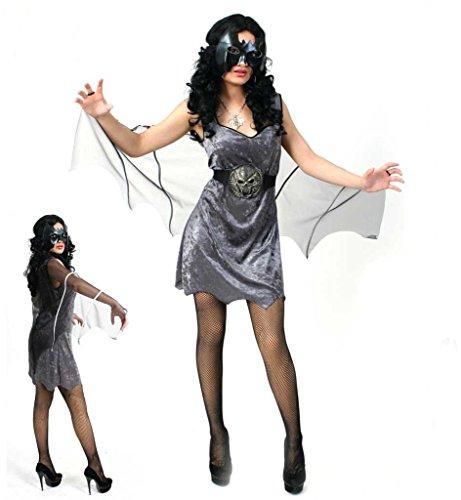 Damenkostüm, Fledermauskostüm, Halloweenkostüm, Damen-Kleid in grau (42) (Womens Haloween Kostüme)