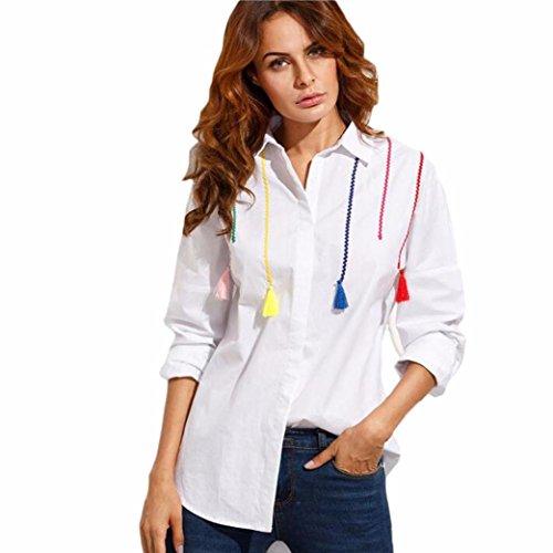 donne camicetta camicia, FEITONG  maniche lunghe in cotone supera superiore colore nappa pendente (L, bianca) XL