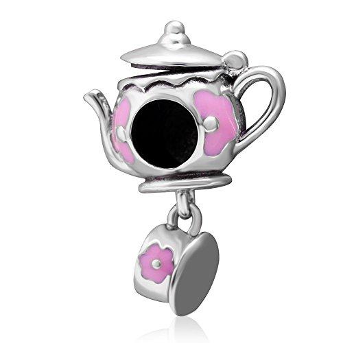 Fiore rosa teiera e tazza charm con smalto charm in argento Sterling 925perline per braccialetti stile europeo