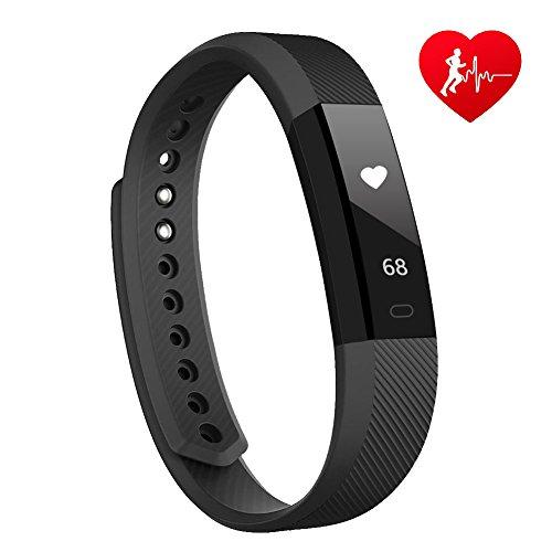 Lintelek Fitness Tracker mit herzfrequenz Fitness Uhr Fitness Armbanduhr Step Tracker Kalorienzähler aktivitätstracker Schrittzähler Uhr SMS Anrufe Schwarz
