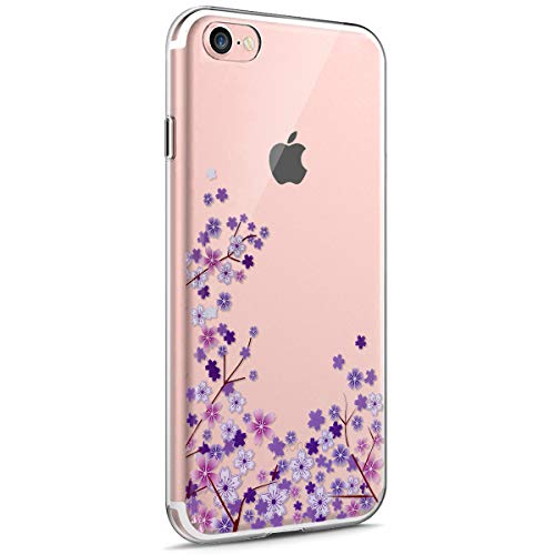iPhone 7 Funda,iPhone iPhone 8 Funda,Funda Transparente Suave TPU Gel Ultra Fina Protección A Bordes Y Cámara Silicona Bumper Crystal Móvil Ultrafina Funda para iPhone 7/8,Flor de Cerezo Morada