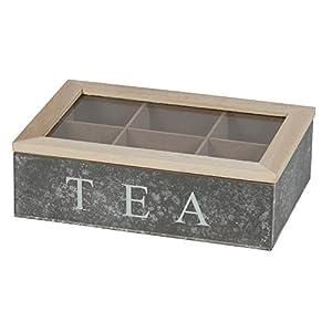 Boîte à thé Boîte 6compartiments | 23x 15,5x 7cm | d'Thé pour sachets de thé