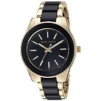 Anne Klein Women's Resin Bracelet Watch One Size Black/Gold