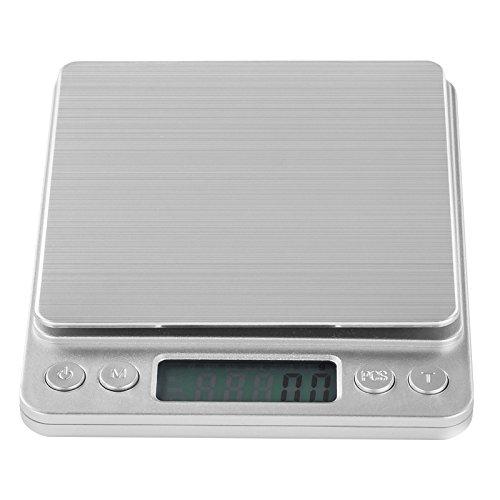 Küchenwaage Briefwaage Digitalwaage (hohe Präzision von 0,01g, 500g Messbereich, vorkalibriert, LCD-Display, 6 Wiegeeinheiten, inkl. 2 Wiegeschalen) silber - Steinberg Systems