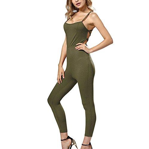 iBaste Jumpsuit Damen Lang Hosen Ärmelloses Overall Sporthose Bodycon Einteiler Playsuit Hose für Fitness Yoga-AG-L (Röhrenjeans Ag)