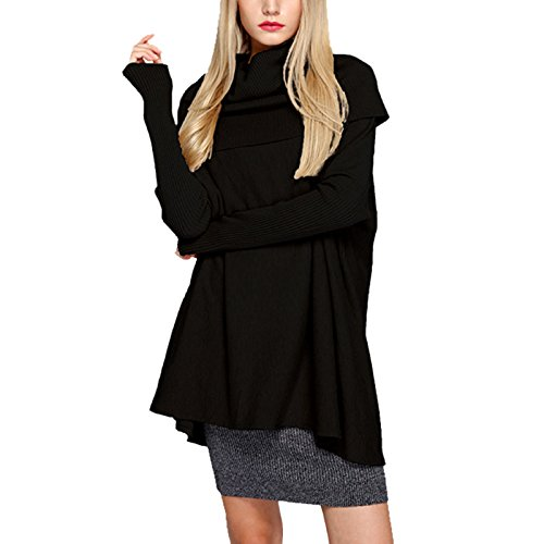WSLCN Pulls Tricots Épais Femme Collier de Tas Pull-over Chandail de Col Haut Sweat-shirt Col Roulé Lâche Tops Uni Noir
