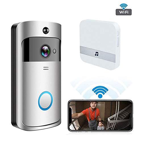 TLgf Wireless Video-Türklingel Intelligente drahtlose Remote-Türklingel-Kamera mit Echtzeit-Gegensprech- und Video-Funktionen, Nachtsicht, PIR-Bewegungserkennung und App-Steuerung,Silver Intercom-master-system