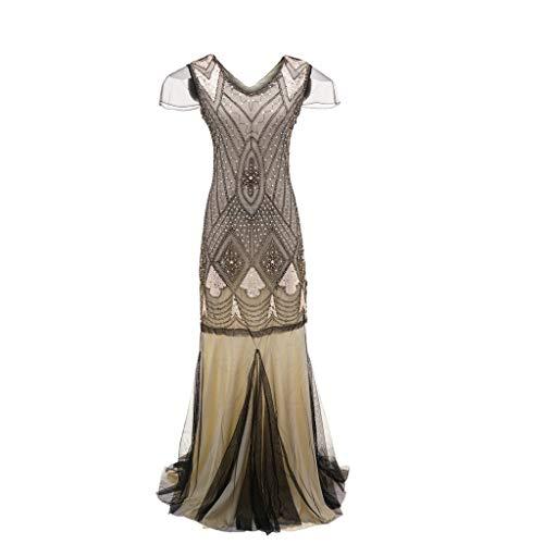 Luckycat Frauen Jahrgang 1920 Perlen Fransen Pailletten verziert Partykleider Flapper Gatsby Kleider Abendkleider Schwingenkleid Cocktailkleid ()