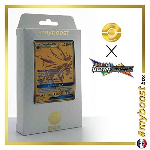 Solgaleo-GX (Solgaleo-GX) 173/156 Geheimer Gold - #myboost X Soleil & Lune 5 Ultra-Prisme - Box mit 10 Franzosische Pokémon-Karten (Pokemon Gold-karten)