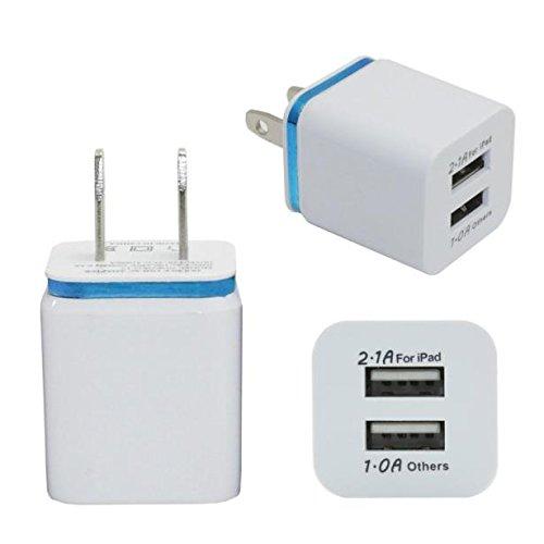 MuSheng USB Ladegerät Adapter, 5V 1A USB US 2Port Wand Home Reise AC Ladegerät Adapter für S6 LG G5 Stecker (Blau) Htc Wand
