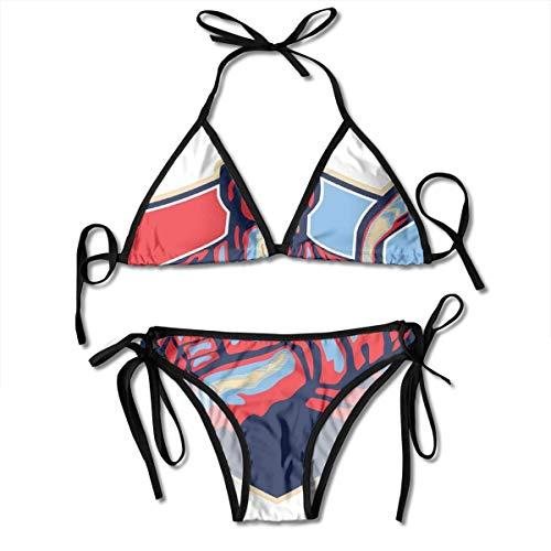 Adjustable Bikini Set Halter Ladies Swimming Costume, Illustration of An Ice Hockey Player Holding Stick In Retro Style,Halter Beach Bathing Swimwear