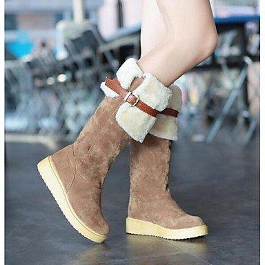 RTRY Scarpe Da Donna In Pelle Nubuck Winter Snow Boots Fashion Stivali Stivali Tacco Piatto Ginocchio Stivali Alti Per Casual Beige Marrone Nero US8.5 / EU39 / UK6.5 / CN40