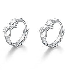 Idea Regalo - 14K 585 Oro bianco taglio diamante piccolo infinito amore infinity love orecchini a cerchio (8mm) donna gioielli regalo per San Valentino