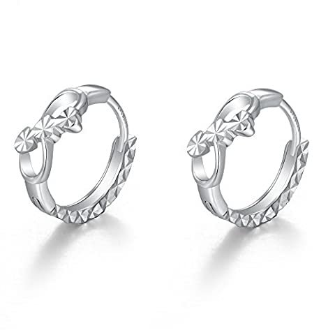 14 ct 585 White Gold Tiny Infinity Love Diamond Cut Huggie Hoop Creole Earrings (8MM) Anniversary Jewellery Gift for Women Girl