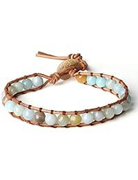 Morella Women's Bracelet with Stone Beads Zirconia Adjustable Gold