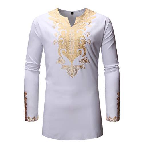 T Shirt Herren 2019 Sommer Strandbluse Herbst Luxus afrikanischen Print Langarm Dashiki Shirt Top Bluse Weiß Shirt -