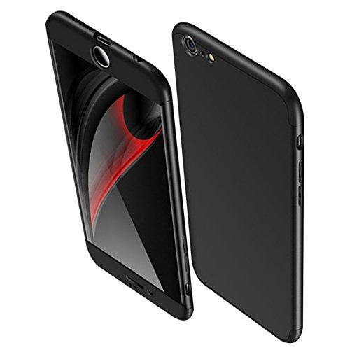 iPhone 8/8Plus Hülle,3 in1 Ultra-dünne Anti-Scratch-harte PC Matte Schutz 360 Grad Ganzkörper Schützende dünne Stoßstange Telefon Apple iPhone8+/8P Case … (Schwarz, iPhone 8 4.7)