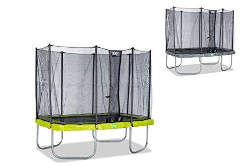EXIT Twist Trampolin grün/grau 214 x 305 cm / rechteckiges Trampolin mit Sicherheitsnetz / Gewicht: 91 kg / max. Belastbarkeit: 120 kg