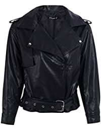 bc1f2b7e9c9f Simplee Apparel Damen Jacke Herbst Winter Elegant Cusual PU Leather Jacke  Kurz Jacket Mantel Übergansjacke mit…