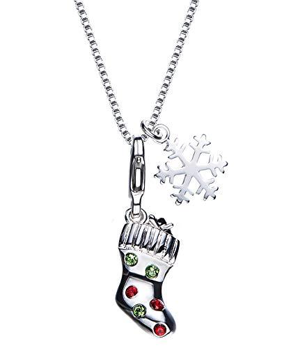 Lafeil Halskette Silber Rhodiniert Kette Edelstahl Indianer Halskette Weihnachtsstrumpf Anhänger Freundschaftskette Grün Bunt Zirkonia
