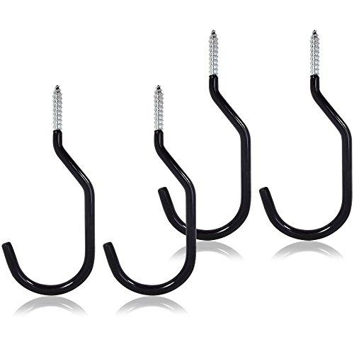 COM-FOUR® 4x Fahrradhaken mit Gummibeschichtung, Haken für die Decke zur Aufbewahrung von Fahrrädern, 14,8 x 6,7 cm