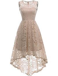 MuaDress Vestido Cóctel Vintage A-línea Hi-Lo Elegante Mujer Flor Encaje Vestidos ...