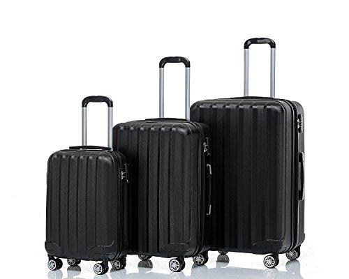 BEIBYE TSA-Schloß 2080 Hangepäck Zwillingsrollen Reisekoffer Koffer Trolley Hartschale Set-XL-L-M(Boardcase) in 12 Farben (Schwarz, 3tlg. Kofferset)