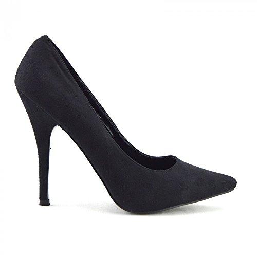 Kick Footwear - UOMO DONNA DRAG QUEEN CROSSDRESSER TACCO ALTO A PUNTA SCARPE DI CORTE DI GRANDI DIMENSIONI, DI NUOVA Nero (In camoscio nero)