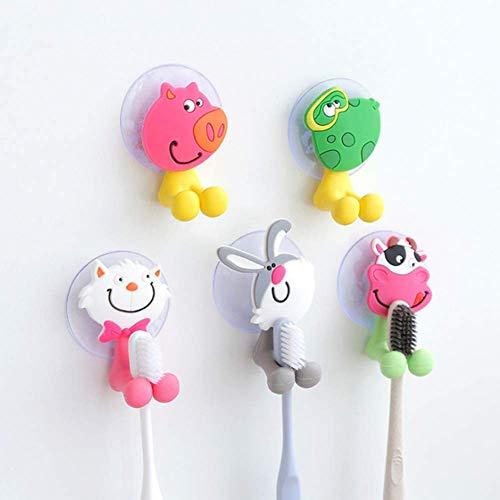 Zahnbürstenhalter für Kinder, 5 Teile/Satz Schöne Cartoon Tier Bad Saugnapf Zahnbürstenhalter Handtuchhaken Praktisch und